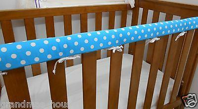2 x Baby Cot Rail Cover Crib Teething Pad Spots on Turquoise*REDUCED* SET OF TWO