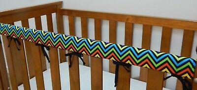 2 x Cot Rail Cover Crib Teething Pad - Rainbow Chevron Black *REDUCED SET OF TWO