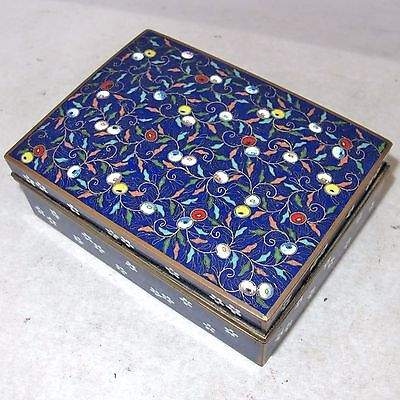 "4.5"" Antique Japanese Blue Cloisonne Hinged Trinket Cigarette Box with Flowers"