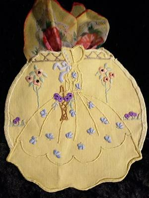 Crinoline Lady~ Standard Roses ~ Vintage Hand Embroidered Shaped Case & Hankie