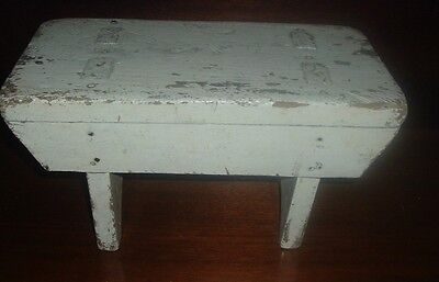 """Antique Small Farm Milking Stool Old White Paint 15"""" Long x 7 /2"""" Wide x 8"""" Tall"""