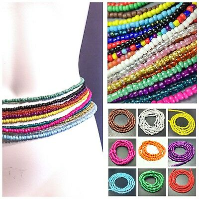 Traditional African Waist Beads Solid Colors Ghana Inspired Beaded Belly Chain