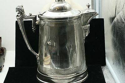 """13"""" ANTIQUE 1854 RODGERS & BRO. SILVER Plate Etched  Ice Water PITCHER"""