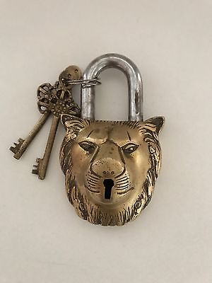 Brass Finish Antique Lion Door Lock From Nepal With 2-keys