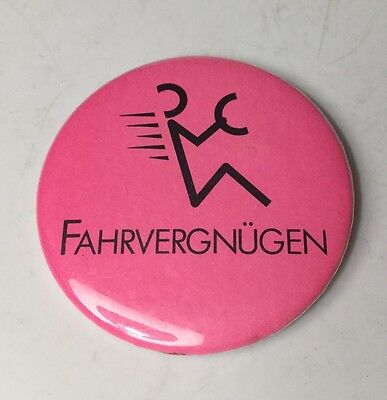 "Volkswagen Fahrvergnugen Pinback Button Pink 2.25"" Wide Vw  Pin Back"