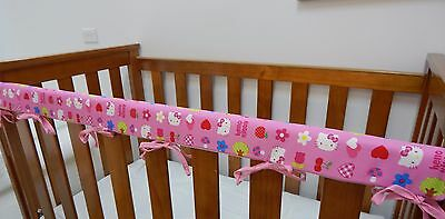 1 x Baby Cot Rail Cover Crib Teething Pad - Hello Kitty Pink Cherries *REDUCED*