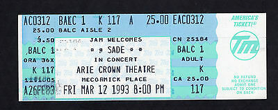 1993 Sade unused full concert ticket Arie Crown Theatre Chicago Smooth Operator