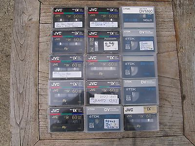 Mini Digital Video Cassettes (Mixed Lot of 15 Used)