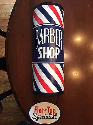 VINTAGE LOOK BARBER SHOP POLE Metal SIGN Clippers Hair Comb Nail NEW!