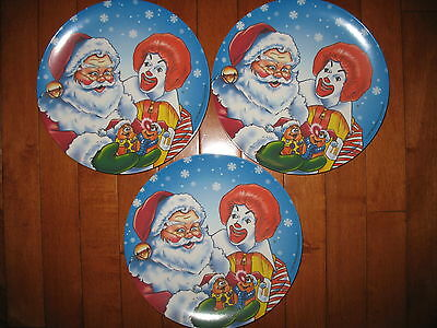 "Lot of 3 Ronald McDonald Santa Christmas Holiday 9.5"" plates 1997"