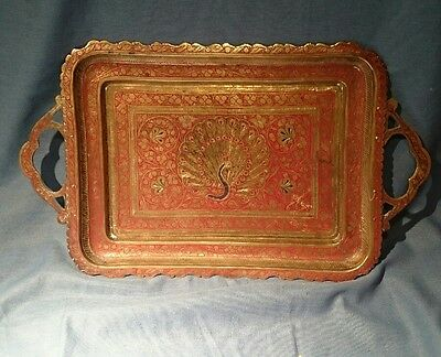 Vtg Peacock Tray Etched Brass Hand-painted Oval Platter Made in India
