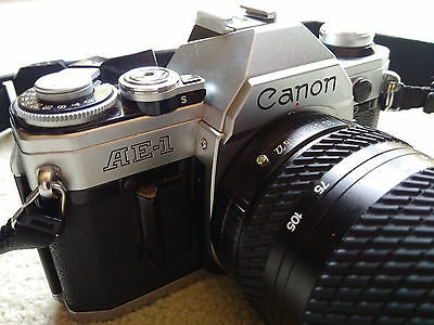 Canon AE-1 35mm SLR Film Camera with Tokina 28-105mm zoom lens