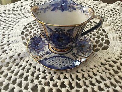 Russian Blue Gzhel Porcelain Hand Painted Tea Cup/Saucer Gold Gilt