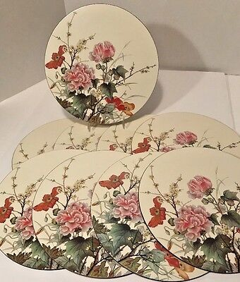 "Set of 9 Vtg Pimpernel Floral 10"" Round Placemats England Cabbage Rose Poppy EUC"