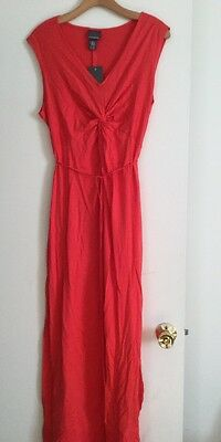 NWT!! Baby By Motherhood Dress Orange Twisted Front Sleeveless Size L