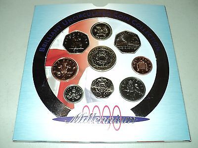 2000 Royal Mint UK Brilliant Uncirculated 9 Coin Millennium Set England English