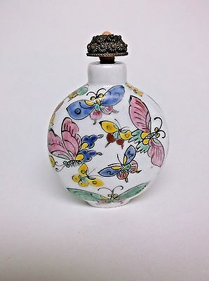 Antique Chinese Snuff Bottle Filigree Lid with Spoon Butterflies on Porcelain