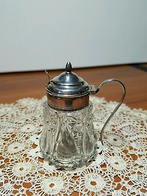 Vintage Birks Sterling Silver Cut Glass Condiment or Mustard with Spoon