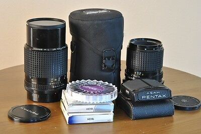 Pentax 67 6x7 Lot 200mm & 135mm F/4 Lenses and Waist Level Finder