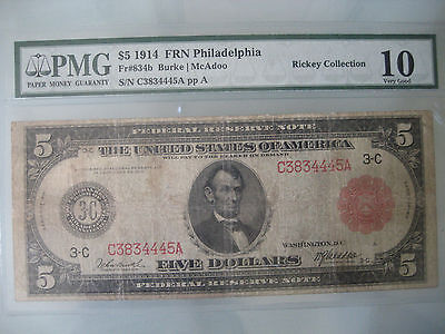 1914 $5 Federal Reserve Note FR-834B PMG 10 VG **Red Seal** Philadelphia