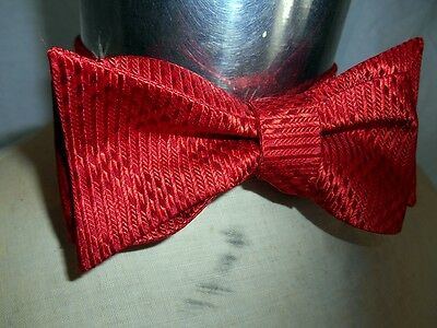 Vintage Red Adjustable Silk or Acetate Bow Tie - Steampunk Prom Formal