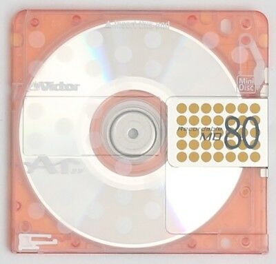 Genuine Victor Translucent Spotty Orange Recordable MiniDisc 80 Minutes w/ Case