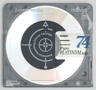 Genuine Maxell 'Pure Platinum' Resonance Absorbing MiniDisc 74 Minutes w/ Case