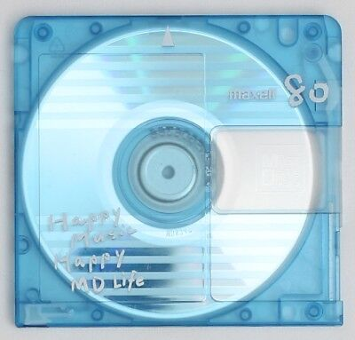 Genuine Maxell 'Happy Music Happy MD Life' Blue MiniDisc 80 Minutes w/ Case