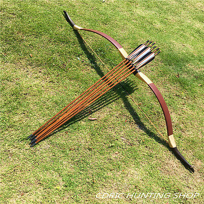 Traditional brown leather bow 20-60#+6 bamboo arrows shoot outdoors