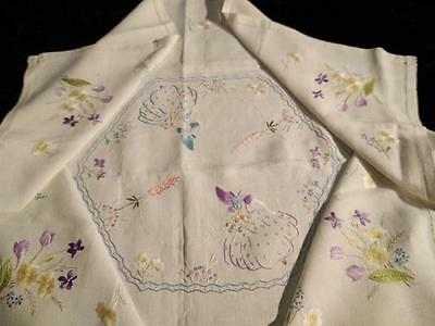Exquisite Crinoline Ladies & Exceptional Flower Crns~Hand Embroidered Tablecloth