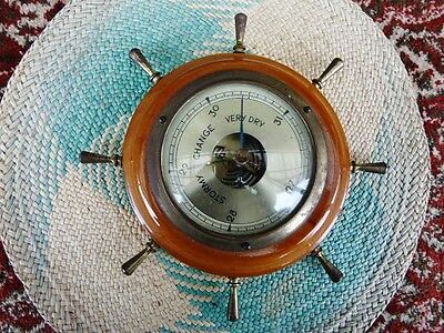 VINTAGE OLD 1950s WALL BAROMETER Ships Wheel BRASS POLISHED WOOD VINTAGE