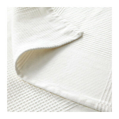 IKEA Throw Rug Bedspread Blanket Bed Couch 100% Cotton INDIRA 150x250cm WHITE