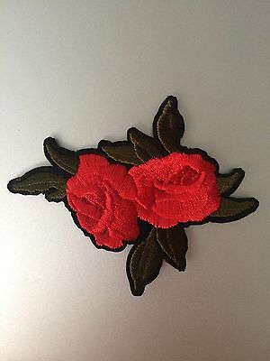 Roses Patch - Iron On Badge Embroidered Motif - Rose Flower #131