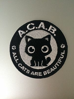 All Cats Are Beautiful (ACAB) Patch - Iron On Badge Embroidered Motif - Cat #148