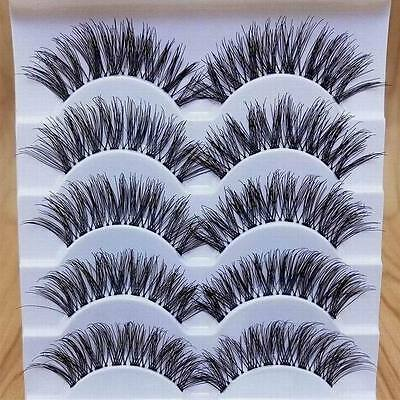 Makeup Handmade 5 Pairs Natural Long Dense False Eyelashes Extension