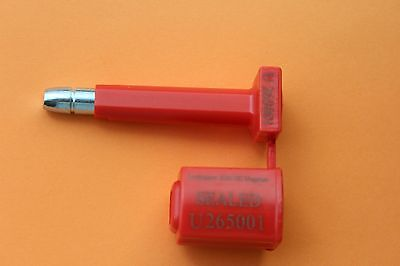 Pack 1 x Locktainer 2020SH numbered container bolt lock security seals in red