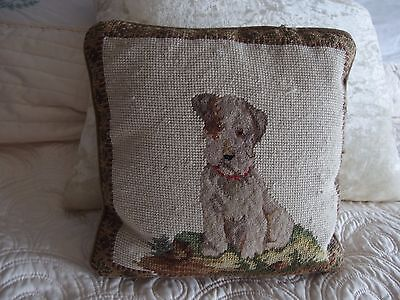 beautiful vintage hand made tapestry cushion cute Jack Russell puppy dog
