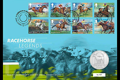 """Great Britain- 2017 """"Racehorse Legends"""" Medal Cover"""