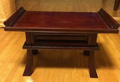 Japanese traditional small desk table ebony black wood Shelf drawer 18inch