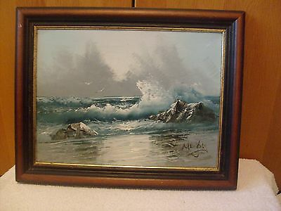 Signed Oil Or Acrylic Seascape Painting On Canvas In Wooden Frame
