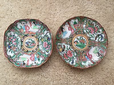 2 Chinese hand painted ROSE MEDALLION plates 1 Round 1 Octogon  1950s Vintage