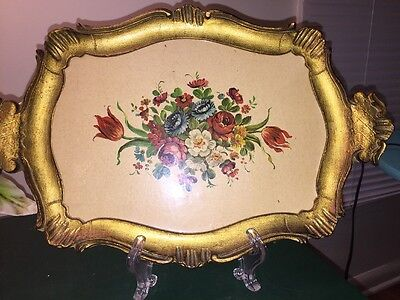 "Florentine Italian Tray Floral Tole Toleware  Made In Italy 14"" X 9"""