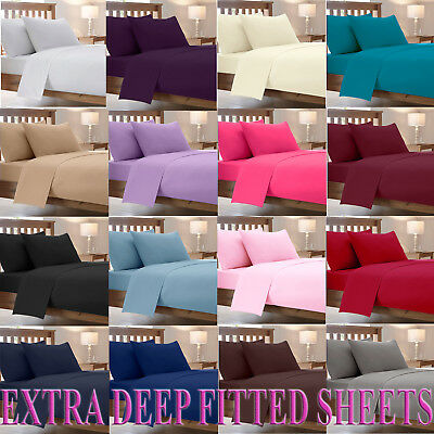 Extra Deep Fitted Bed Sheets Combed Poly Cotton Percale Bedding Pillow Cases