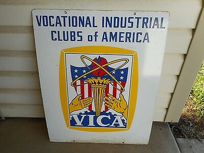 Vintage Vica Vocational Clubs Of America Double Sided Metal Sign