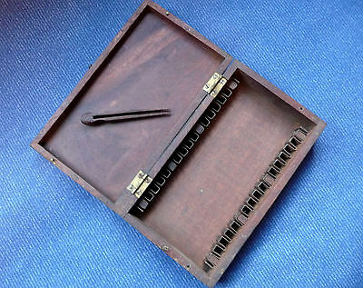 Antique Mahogony Microscope slide Box with Forceps
