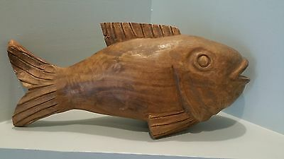 Decorative Wooden Hand Carved Fish  -18 inches long!