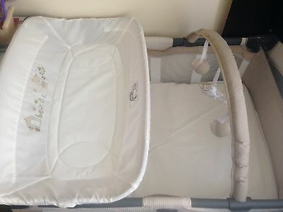 travel cot, with baby change station and brand new mattress