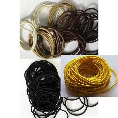 Thin Elastics Snag Free Hair Bands Ponytail Bobbles Ponios Black & Brown 50 pcs