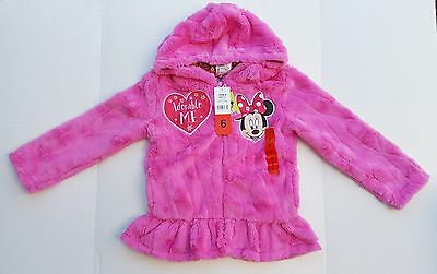 Character Girls' Plush Disney Minnie Mouse Hoodie, Pink Size 6, new