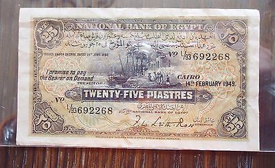 1949 Egypt 25 Piasteres Note Paper Money. Condition: Good
